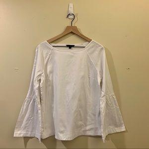 White Banana Republic Linen Bell Sleeve Blouse